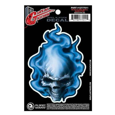 PLANET WAVES GT77011 GUITAR TATOO, BLUE FLAME SKUL...